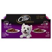 CESAR CANINE CUISINE Wet Dog Food Filet Mignon & Porterhouse Steak Flavors Variety Pack, (12) 3.5 oz. Trays