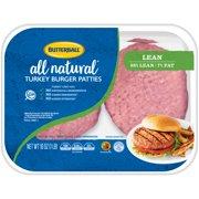Butterball 93% Lean/7% Fat Fresh Turkey Burger Patties, 4 ct, 1.0 lb