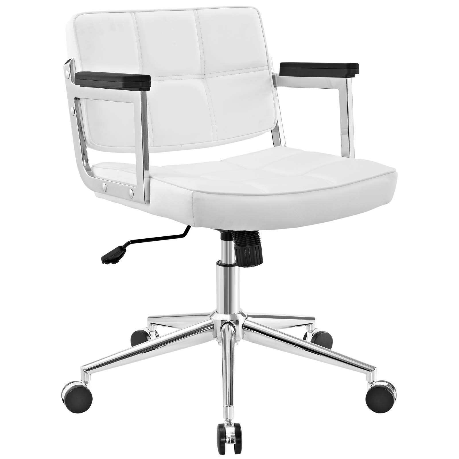 White leather office chair White Quilted Modern Contemporary Urban Design Work Home Office Mid Back Office Chair White Faux Leather Walmart White Office Chairs