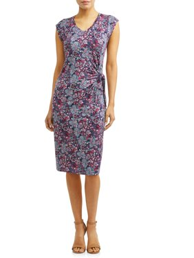 Women's V-Neck Tank Dress with Twisted Tie