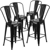 "Belleze (Set of 4) Modern Industrial 30""-inch Bar Height Stools, Black"