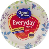 """Great Value Everyday Paper Lunch Plates, 8 5/8"""", 100 Count"""