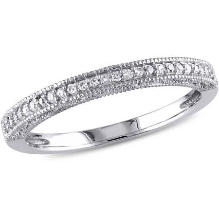 1/10 Carat T.W. Diamond 10kt White Gold Wedding - Scattered Diamond Band