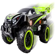 Thunder Big Wheel RC Truck With Light Up Wheels Remote Control Truggy Car Ready to Run INCLUDES RECHARGEABLE BATTERY 1:16 Size Off-Road Buggy Toy (Green)