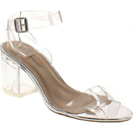 Top Moda Womens Ivan-1 Lucite Clear Strappy Block Chunky High Heel Open Peep Toe Sandal ()