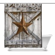 MKHERT Western Texas Star On Rustic Old Barn Wood Waterproof Shower Curtain Decor Fabric Bathroom Set