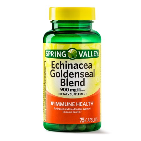 (2 Pack) Spring Valley Echinacea Goldenseal Blend Capsules, 900 mg, 75 Ct