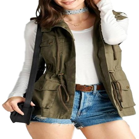 Women's Cotton Cargo Utility Vest (Buffalo Plaid Vest Women)