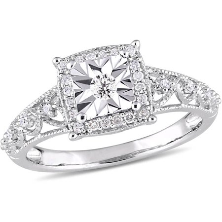 1/5 Carat T.W. Diamond Sterling Silver Halo Vintage Engagement (Diamond Engagement Ring Vintage Setting)