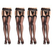 973b09ba0 Leg Avenue Women s Plus Size Sheer Thigh High Stockings Lace Garter Belt
