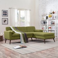 Noble House Sullivan Mid Century Modern 2 Piece Fabric Sectional Sofa And Lounge Set, Green, Walnut