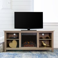 "Walker Edison TV Stand with Fireplace Insert for TVs up to 60"" - Driftwood (Multiple Colors Available)"