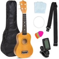Best Choice Products Basswood Ukulele Musical Instrument Starter Kit w/ Waterproof Nylon Carrying Case, Strap, Picks, Cloth, Clip-On Tuner, Extra String - Light Brown