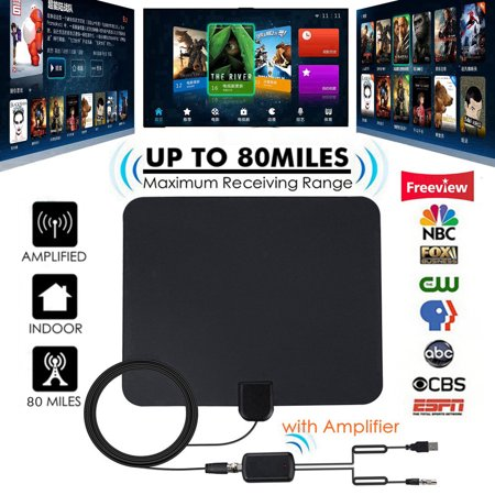[Latest 2019] HD Digital Indoor TV Antenna, 80 Miles Range Amplified HDTV Antenna 4K VHF UHF 1080P Freeview Local Channels High Gain Channels Reception w/ Amplifier Signal Booster & 13FT Coax