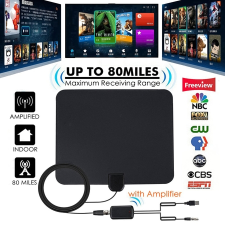 [Latest 2019] HD Digital Indoor TV Antenna, 80 Miles Range Amplified HDTV Antenna 4K VHF UHF 1080P Freeview Local Channels High Gain Channels Reception w/ Amplifier Signal Booster & 13FT Coax (Rca Ant1650 Flat Digital Amplified Indoor Tv Antenna)