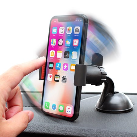 Insten Car Windshield Cell Phone Holder Car Mount Bracket for iPhone XS Max XR XS X 7 8 Plus SE 6s 6 iPod Touch 6th Samsung Galaxy S9 S9+ S10 S10e S8 S7 S6 Plus Edge Note 8 J7 J3 ZTE LG G6 V30 Stylo 4 ()