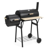 Best Choice Products Outdoor 2-in-1 Charcoal BBQ Grill Meat Smoker for Home, Backyard w/ Temperature Gauge, Metal Grates - Black