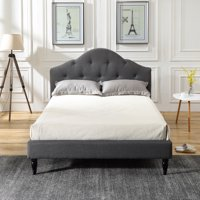 Modern Sleep Winterhaven Upholstered Platform Bed | Headboard and Wood Frame with Wood Slat Support | Grey, Multiple Sizes