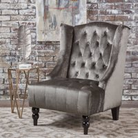 Noble House Anakin Winged High Back Tufted New Velvet Club Chair, Grey