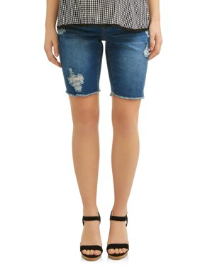 Maternity Over the Belly Raw Edge Destructed Denim Bermuda
