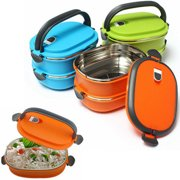 Girl12Queen 2/1 Layer Stainless Steel Insulated Bento Lunch Box Food Container Storage Box