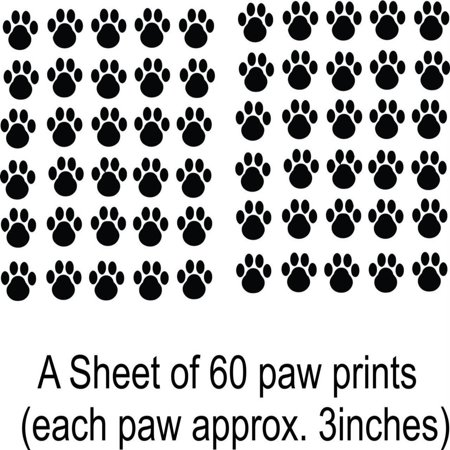 Dog Paw Print Decal - Custom Wall Decal Cat - Dog - 60 Animal Paw Prints Removable Vinyl Wall 20x30