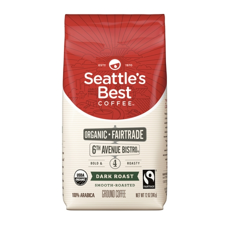 Seattle's Best Coffee 6th Avenue Bistro (Previously Signature Blend No. 4) Fair Trade Organic Dark Roast Ground Coffee, 12-Ounce (Organic Coffee 5 Pound Bag)