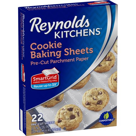 (3 pack) Reynolds Kitchens Cookie Baking Sheets Parchment Paper (Non-Stick, 22 (Reynolds Food Service Film Roll)