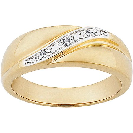 Men's Diamond Accent 14kt Gold over Sterling Silver Wedding Band Diamond Com Mens Bands
