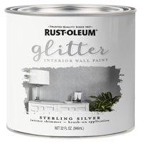 Rust-Oleum Sterling Silver Glitter Interior Wall Paint, Qt