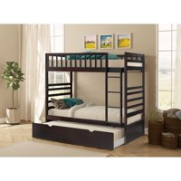 Merax Wood Bunk Bed, Twin Over Twin, Multiple Finishes with Trundle