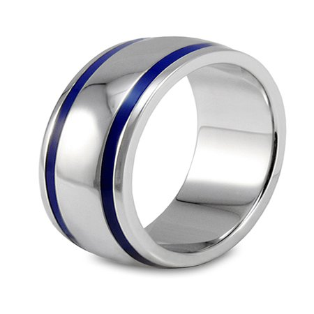 Stainless Steel Polished Blue Enamel Grooved Domed Ring (Enameled Dome Ring)