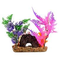 Medium Rock With Plant Assorted Aquarium Decoration