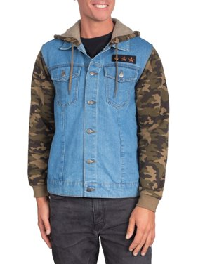 Camo Stars Men's Denim Jacket Hoodie, Up to size 2XL