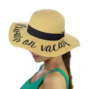 C.C Women s Paper Weaved Beach Time Embroidered Quote Floppy Brim Sun Hat ca4ffa37ea39