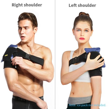 VGEBY Shoulder Support Brace with Hot/Cold Therapy Included, Fully Adjustable for Left or Right Shoulder, with Compression Pad – Shoulder Brace to Help with Pain and Injury