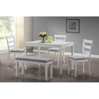 Monarch Dining Set 5Pcs Set / White Bench And 3 Side Chairs