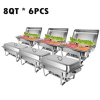 Zimtown Rectangular Chafing Dish 8 Quart Stainless Steel Tray Buffet Catering, Dinner Serving Buffer Warmer Set, Pack of 6