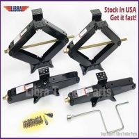 "Set of 4 7500 lb Heavy Duty 24"" RV Trailer Stabilizer Leveling Scissor Jacks w/handle, Dual power Drill Sockets & Mounting Screws"