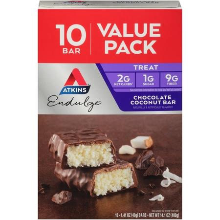 Atkins Endulge Chocolate Coconut Bar, 1.41oz, 10-pack (Treat)