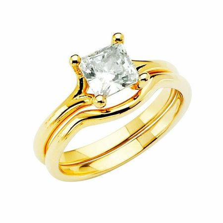 Solid 14k yellow Gold CZ Cubic Zirconia Princess Cut Wedding Engagement Ring (1.25 ct.), 2 Pc set