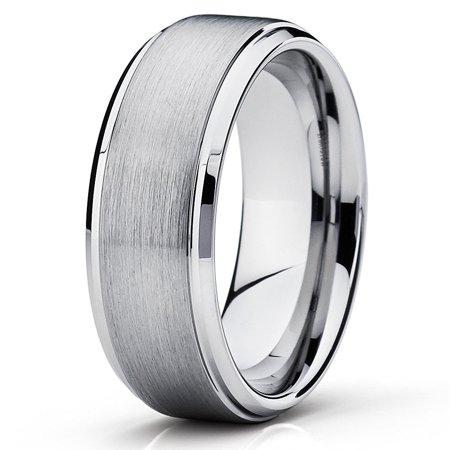 7mm Silver Tungsten Ring Tungsten Wedding Band Tungsten Carbide Ring Brushed Ring Men Women Comfort Fit 9.5 7mm Tungsten Carbide Wedding Band