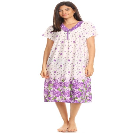 Peignoir Robe Nightgown - 811 Womens Nightgown Sleepwear Woman Short Sleeve Sleep Dress Nightshirt Purple XXL