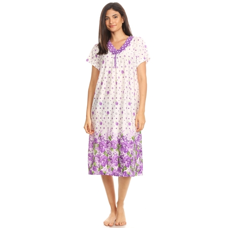 811 Womens Nightgown Sleepwear Woman Short Sleeve Sleep Dress Nightshirt Purple