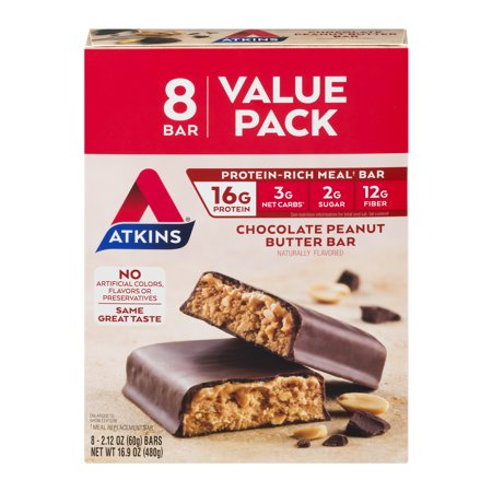 Atkins Chocolate Peanut Butter Bar, 2.12oz, 8-pack (Meal Bar)