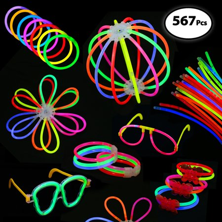 Pack of 567 Glowing Sticks, 250 Glow Sticks + 250 Connectors + 67 Connectors for Flower Balls and more - Party Favors for Kids/Adults - Glow Stick Party
