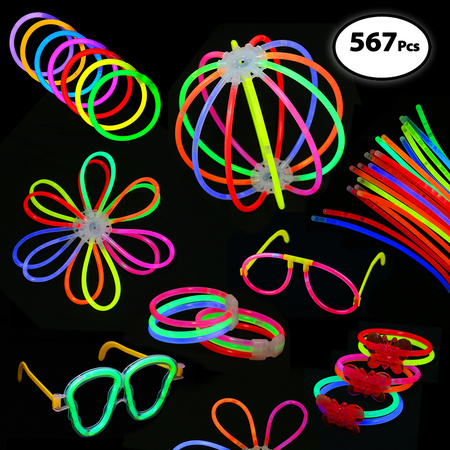 Pack of 567 Glowing Sticks, 250 Glow Sticks + 250 Connectors + 67 Connectors for Flower Balls and more - Party Favors for Kids/Adults - Glow In The Dark Rubber Bracelets