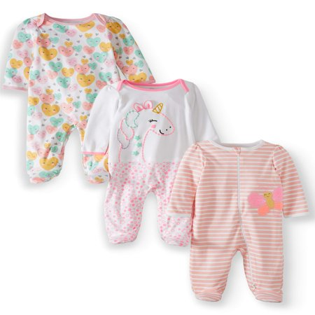 Wonder Nation Inverted zipper sleep n play & coveralls, 3pc pajama set (baby girls) - Newborn Printed Coverall