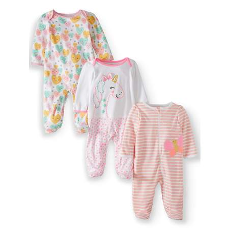 Mlp Pajamas (Wonder Nation Inverted zipper sleep n play & coveralls, 3pc pajama set (baby)