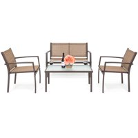 Best Choice Products 4-Piece Patio Metal Conversation Furniture Set w/ Loveseat, 2 Chairs, and Glass Coffee Table- Brown